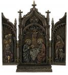 Nativity Scene Triptych - 8.5 Inch H x 7.5 Inch W - Cold-cast Bronze - Veronese Collection