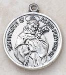 St. Francis Medal - Patron Saint of Animals - Sterling Silver - 7/8 Inch With 24 Inch Chain