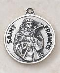 St. Francis Medal - Patron Saint of Animals - Sterling Silver - 3/4 With 20 Inch Chain