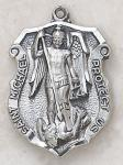 St. Michael Saints Medal Badge - Sterling Silver - 1 1/4 Inch - Patron Saint of Police