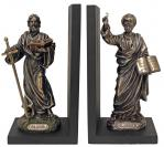 St. Paul & St. Peter Bookends Statues - 9.5 Inch Each - Cold-cast Bronze - Veronese Collection