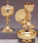 Gold and Silver Plate Chalice and Ciborium Set with Paten and Bowl