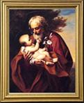 St. Joseph With Baby Jesus Gold Framed Print 13 X 15.5