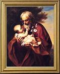 St. Joseph With Baby Jesus Gold Framed Print 13 X 15.5