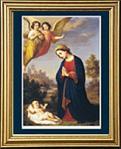 Kneeling Madonna and Child Gold Framed Print 13 X 15.5