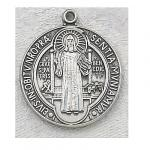 St. Benedict Medal - Sterling Silver - 3/4 Inch with 24 Inch Chain