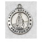St. Brendan Medal - Sterling Silver - 7/8 Inch with 20 Inch Chain