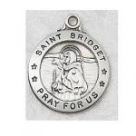 St. Bridget Medal - Sterling Silver  - 7/8 Inch with 20 Inch Chain