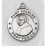 St. Charles Medal - Sterling Silver - 7/8 Inch with 20 Inch Chain