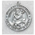 St. Christopher Medal - Sterling Silver - 7/8 Inch with 24 Inch Chain