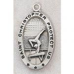 Girls Gymnastics Medals - St Christopher Sterling Silver Girls - 7/8 Inch with 18 Inch Chain