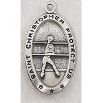Girls Volleyball Medals - St Christopher Sterling Silver - 7/8 Inch with 18 Inch Chain