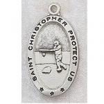 Girls Softball Medals - St Christopher Sterling Silver - 7/8 Inch with 18 Inch Chain