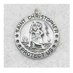 St. Christopher Medal - 3/4 Inch Sterling Silver - With 18 Inch Chain