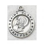 St. Clare Medal - Sterling Silver - 7/8 Inch with 20 Inch Chain