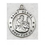 St. Daniel Medal - Sterling Silver - 7/8 Inch with 20 Inch Chain