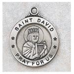 St. David Medal - Sterling Silver - 7/8 Inch with 20 Inch Chain