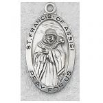 St. Francis Medal - Sterling Silver - 1 Inch with 24 Inch Chain