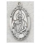 St. George Medal - Sterling Silver - 1 Inch With 24 Inch Chain