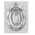 Our Lady of Guadalupe Medal - Sterling Silver - 1 Inch With 24 Inch Chain