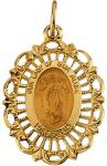 Our Lady of Guadalupe 14 KT Gold Medal - 7/8 Inch Without Chain