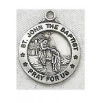 St. John The Baptist Medal - Sterling Silver - 3/4 Inch with 20 Inch Chain