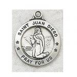St. Juan Diego Medal - Sterling Silver - 7/8 Inch with 20 Inch Chain