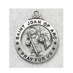 St. Joan of Arc Medal - Sterling Silver - 3/4 Inch with 20 Inch Chain