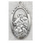 St. Mark Medal - Sterling Silver - 1 Inch With 24 Inch Chain