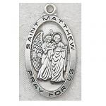 St. Matthew Medal - Sterling Silver - 1 Inch With 24 Inch Chain