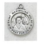 St. Maximilian Kolbe Medal - Sterling Silver - 7/8 Inch with 20 Inch Chain