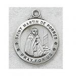 St. Martin de Porres Medal - Sterling Silver - 7/8 Inch with 20 Inch Chain