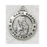 St. Maria Goretti Medal - Sterling Silver - 3/4 Inch with 20 Inch Chain