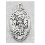 St. Michael Medal - Sterling Silver - 1 Inch With 24 Inch Chain