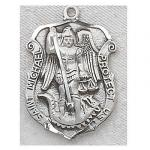 St. Michael Medal - Sterling Silver - 1 & 1/8 Inch With 24 Inch Chain