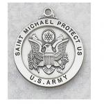US Army Medal - Sterling Silver Military Medal With St. Michael The Archangel - 7/8 Inch with 24 Inch Chain