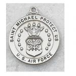 US Air Force Medal - Sterling Silver Military Medal with St. Michael The Archangel - 7/8 Inch with 24 Inch Chain