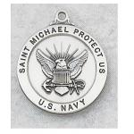 US Navy Medal - Sterling Silver Military Medal with St Michael The Archangel - 7/8 Inch with 24 Inch Chain