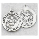 US Marines Medal - Sterling Silver Military Medal with St Michael The Archangel - 7/8 Inch with 24 Inch Chain