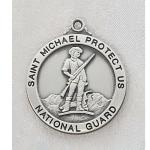National Guard Medal - Sterling Silver Military Medal with St Michael The Archangel - 7/8 Inch Sterling Silver - 24 Inch Chain
