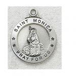 St. Monica Medal - Sterling Silver - 7/8 Inch with 20 Inch Chain