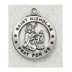 St. Nicholas Medal - Sterling Silver - 7/8 Inch with 20 Inch Chain