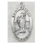St. Patrick Medal - Sterling Silver - 1 Inch With 24 Inch Chain
