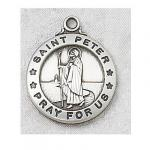 St. Peter Medal - Sterling Silver - 3/4 Inch with 20 Inch Chain