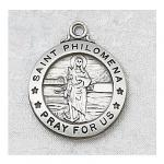 St. Philomena Medal - Sterling Silver - 3/4 Inch with 20 Inch Chain