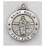 St. Philip Medal - Sterling Silver - 7/8 Inch with 20 Inch Chain