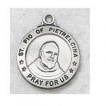 St. Padre Pio Medal - Sterling Silver - 3/4 Inch with 20 Inch Chain