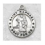 St. Raphael Medal - Sterling Silver - 3/4 Inch with 20 Inch Chain