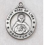 St. Rose of Lima Medal - Sterling Silver - 7/8 Inch with 20 Inch Chain