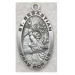 St. Sebastian Medal - Sterling Silver - 1 Inch with 24 Inch Chain